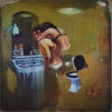 Lieven Decabooter   'Bathroom love' (2015) 150x150 cm, oil on canvas.