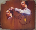 'How to cut your own hair' (2014) 100x120cm, oil on canvas